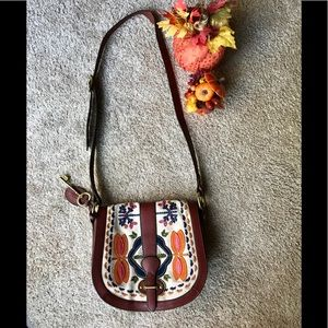 Fossil Embroidered Flap Bag.  Red Brown Leather.